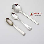 Hand Made Arts And Crafts Horseradish Demitasse Cream Soup Spoon Set Sterling Silver 3 Pieces