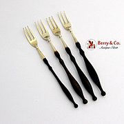 Gilt Cocktail Forks Sterling Silver Wood 4 Pieces 1900