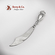 Art Nouveau Butter Knife Female Face on the Handle Sterling Silver