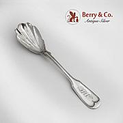 Fiddle Thread Sugar Shell Spoon Sterling Silver 1870
