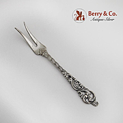 Ornate Serving Fork 830 Silver Norway 1920s