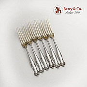 Canterbury Set of 6 Strawberry Forks Sterling Silver Towle Silversmiths 1893
