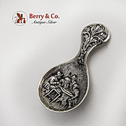 Ornate Tea Caddy Spoon Dutch 833 Silver 1900