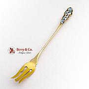 Ornate Long Handle Olive Fork Enamel Gold Finish Sterling Silver Blackinton 1900