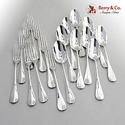Antique Dessert Set 9 Forks 9 Spoons French Sterling Silver 1880