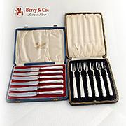 Art Deco Fruit Set 6 Forks 6 Knives Sterling Silver Sheffield 1937