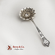 Ornate Sifter Ladle Sterling Silver Paris 1913 Baroque Scroll Floral Wreath