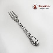 Ornate Pickle Fork Coin Silver 1860 Grape Vine Handle
