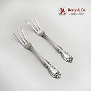 Pair of Lemon Forks Sterling Silver Melrose Gorham Silversmiths 1948