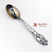St Louis Souvenir Spoon Sterling Silver Hand Painted Bowl Davis and Galt 1900