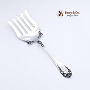 Rose Asparagus Serving Fork Wallace Sterling Silver 1888