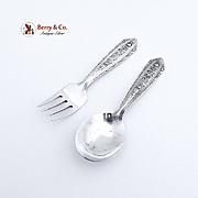 Normandie Baby Flatware Set Spoon and Fork Wallace Sterling Silver 1933