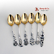 Harlequin Set of 6 Demitasse Spoons Reed and Barton Sterling Silver