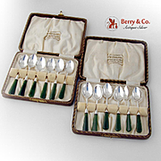 New Zealand Green Stone Demitasse Spoons Sterling Silver Nephrite
