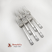 San Lorenzo Set of 6 Dinner Forks Sterling Silver Tiffany and Co 1916