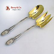 Broom Corn Tiffany Salad Serving Set  Sterling Silver 1890 Monogram HJM