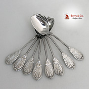 SOLD Ornate Twist Handle 10 Teaspoons Coin Silver 1860