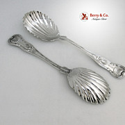 Queens Berry Spoons Taylor Laurie Coin Silver 1850 Dunlap