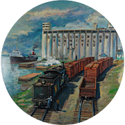 Original Painting by Famous Railroad Artist Ted Xaras - Collingwood Ontario Canada Scene with