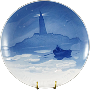 1924 B & G Denmark Christmas Plate Lighthouse and Man in Boat