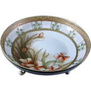 NIPPON Three Footed Bowl With Flower & Gold  Edge