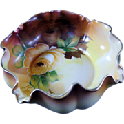 NIPPON Hand Pained Ruffle Edge Bowl With Flowers