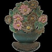 SALE Cast Iron Door Stop Flower Pot Basket
