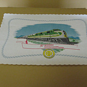 The Southern Railroad SR Placemat from Dinner Car