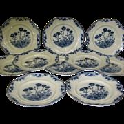 SALE Flow Blue J&G Meakin Staffordshire England set of 10 Dinner Plates