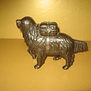 SALE St Bernard with Pack Cast Iron Dog Bank