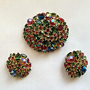 Fantastic Large Moghul Colors ALICE CAVINESS Brooch Pin & Earrings