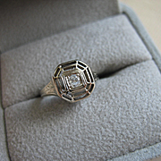 Vintage ART DECO 14K White Gold w/ Diamond Engagement Wedding Ring Sz 4