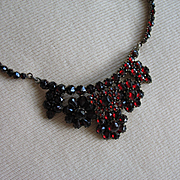 Beautiful Antique VICTORIAN BOHEMIAN GARNET NECKLACE Gilded Sterling