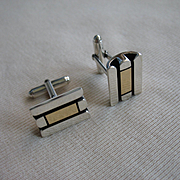 Vintage CARTIER Cufflinks - 18K Gold and Sterling Silver 20.1 gms