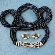 Glorious Vintage Signed CINER ZEBRA HEAD Long 6-Strand Necklace & Earrings
