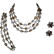 SALE Vendome Nail Head Crystal Necklace, Bracelet & Earrings