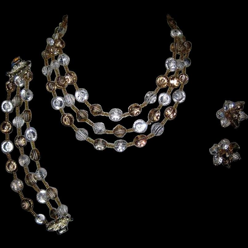 Vendome Nail Head Crystal Necklace, Bracelet & Earrings