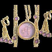 Goldette Intaglio Necklace & Earrings