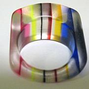 Vintage 60's Lucite Rainbow Ring