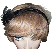 Black Velvet Headband / Hat, Feathers & Fascinator, 40's