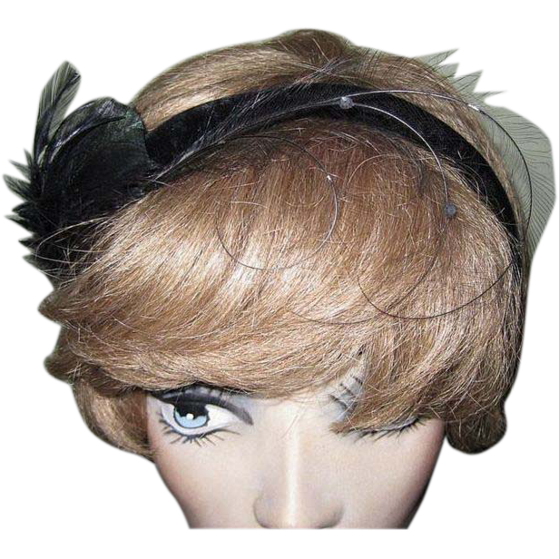 Black Velvet Headband / Hat, Feathers & Fascinator, 40's