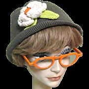 Vintage 60's Eye Glasses Frames, Orange, Folding