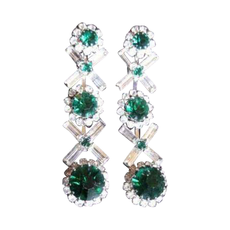 Vintage Kramer Rhinestone Drop Earrings, Emerald Green