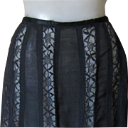 SALE Victorian Black Lace Panel Skirt, Minty