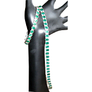 SALE Sterling & Malachite Necklace & Bracelet, In Line Link