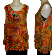 Vintage 80's Silky Layered Sleeveless Blouse, Sheer URU