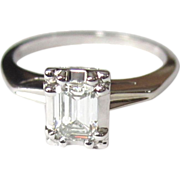 SALE Diamond Engagement Ring, 14K, Emerald Cut, 1/2 Carat