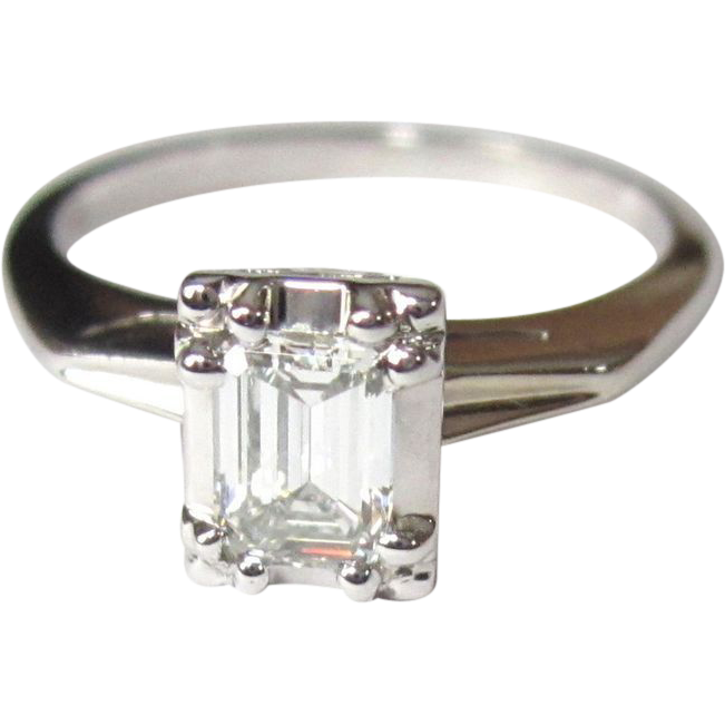Diamond Engagement Ring 14K Emerald Cut 1 2 Carat from lakegirlvintage on