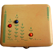 Vintage Art Deco Compact, Jadite Green Floral, Glass Cabs