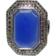 Art Deco Chalcedony Ring, Sterling & Marcasite Halo, Germany 1920's